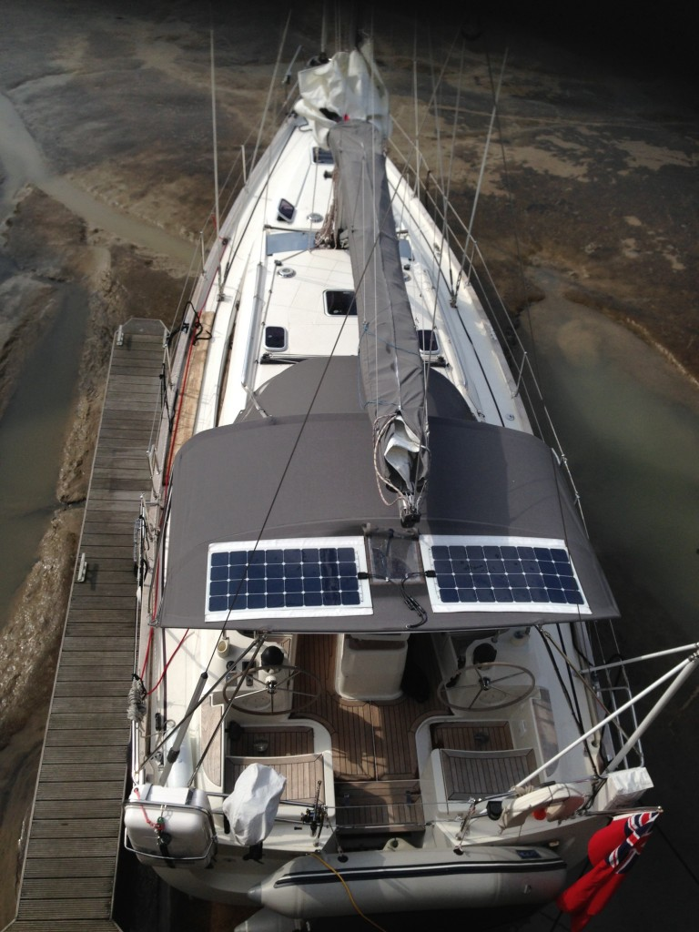Our yacht from above with zip on solar panels in place